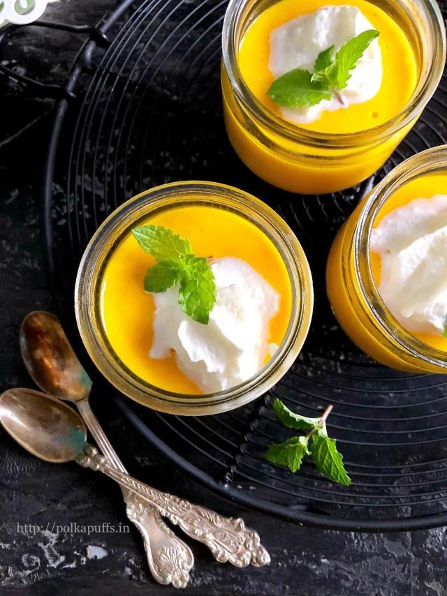 Egg Free No Bake Mango Pudding | Gelatin Free Mango Pudding