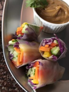 Rainbow Veggie Rolls with Peanut Sauce | GF and Vegan