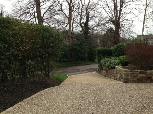sloped driveway polley garden