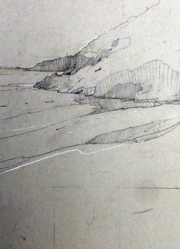Morning, HighTide, Drawing– Sand Beach- right side ANP ...