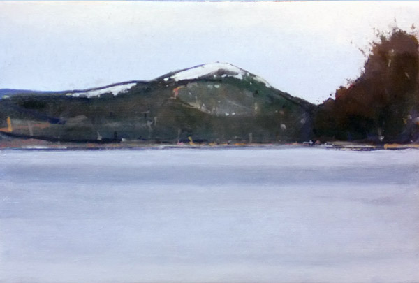 Late Winter,  Little Long Pond, oil on linen, 10 x 15 inches