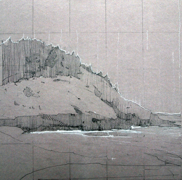Oak Hill Bluff, Grap[hoite on Canson board, 15 x 15 inches