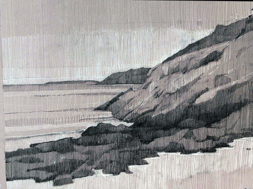 Sand Beach, Right Side, graphite and conte on Canson, 12 x 18 inches