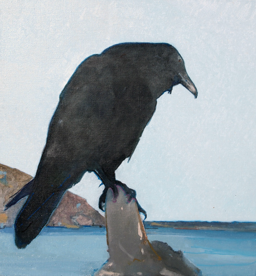 """Perched, oil on linen, 20 x 19 inches, 1/2014"