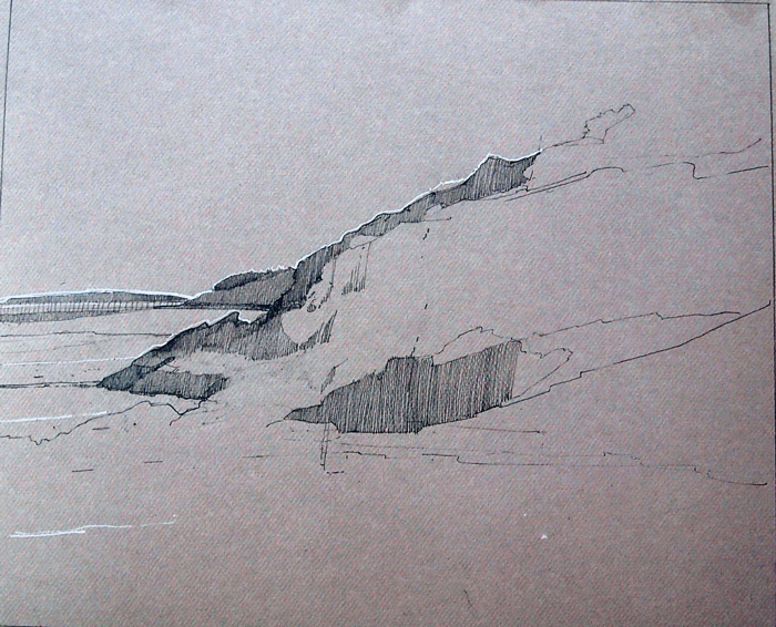 May, Sand Beach, Right Side, graphite and Conte, 12 x `18