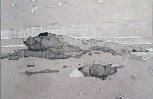 Pemaquid Point, Graphite and Conte, 12 x 18 inches