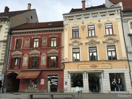 beautiful houses on the Main Square @Maribor, Slovenia