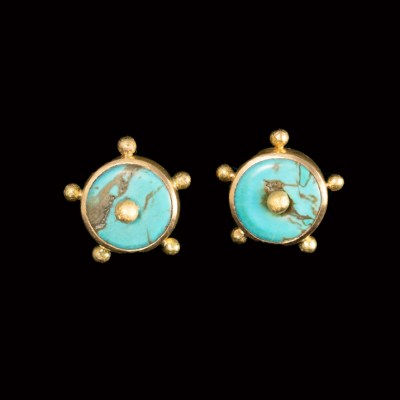 Turquoise button and 22ct gold stud earrings