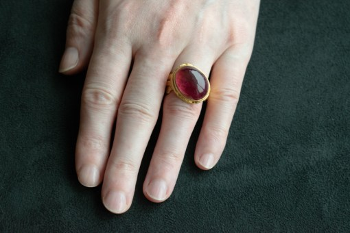 large cabochon rubelite tourmaline ring