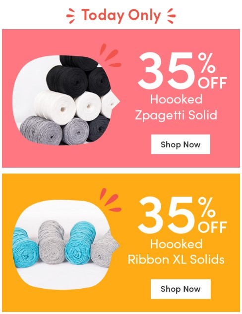 35% off selected Hooked yarns at LoveCrafts today