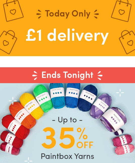 £1 delivery and up to 35% off Paintbox Yarns at LoveCrafts today