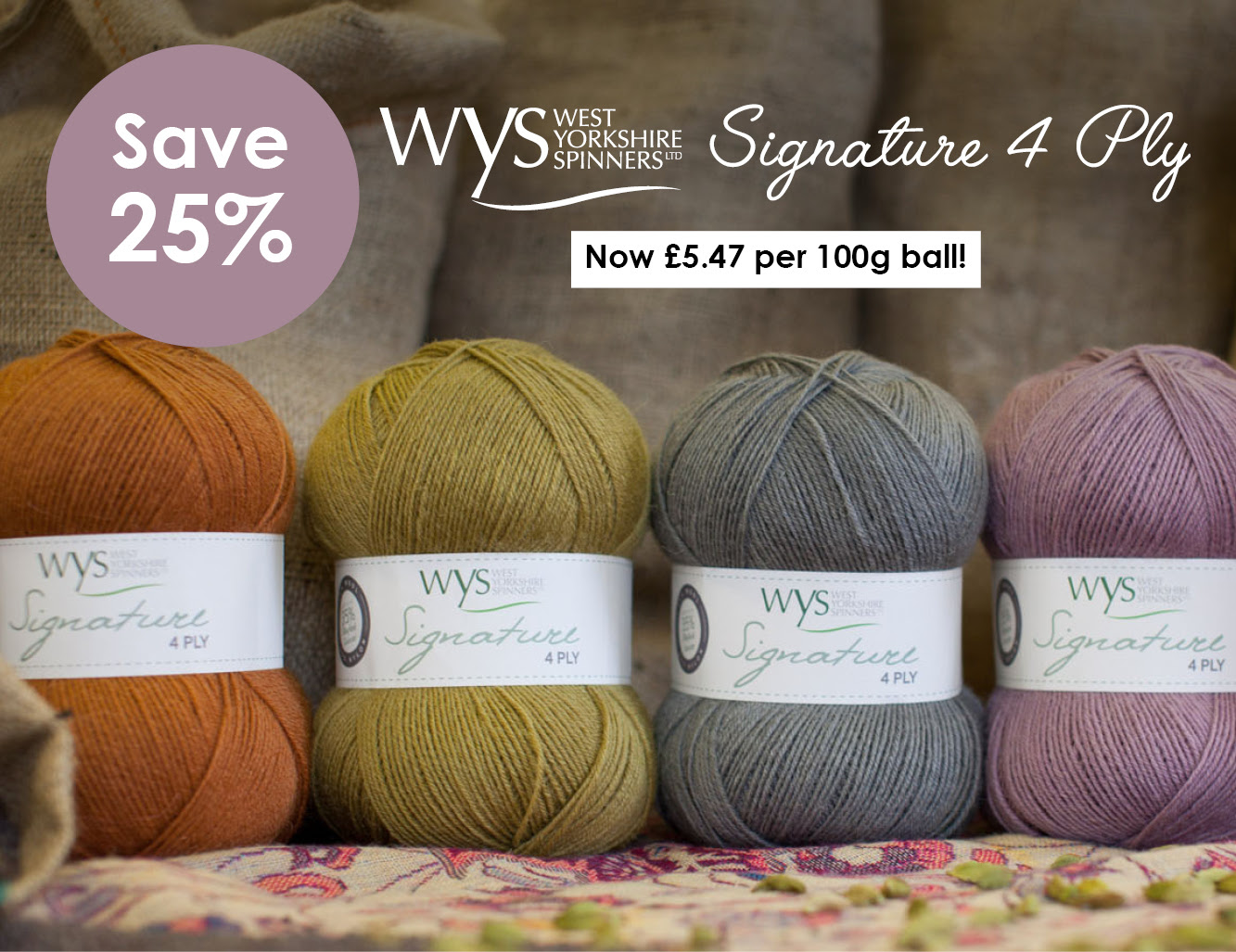 25% off selected West Yorkshire Spinners yarns at Wool Warehouse
