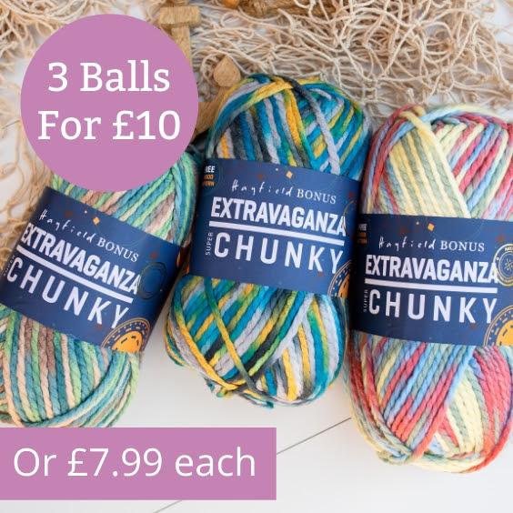 Hayfield Bonus Extravaganza 3 balls for £10 at The Knitting Network
