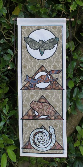 Animal Spirit Tapestry with Moth, Fox Toad and Snake