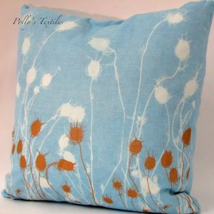 blue and bronze linen cushion