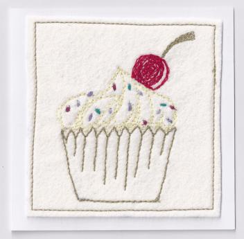 Handmade embroidered cupcake card.