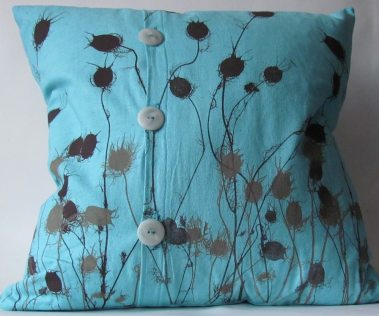 turquoise flower design cushion