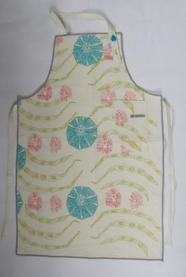 Cotton Aprons with runner beans and Melons