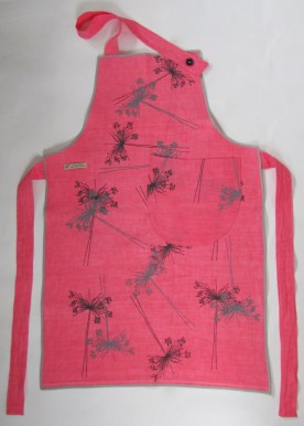 pink Linen apron with grey flowers