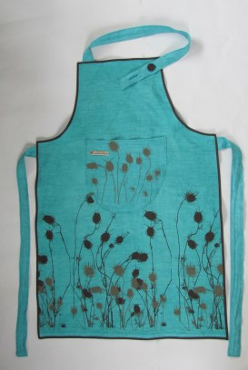 turquoise linen Apron with flower design