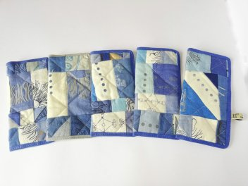 blue hand printed glases case