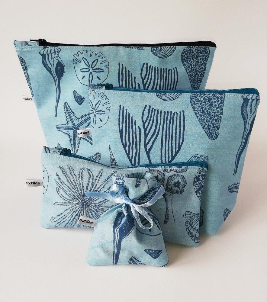 blue hand printed wash-bags