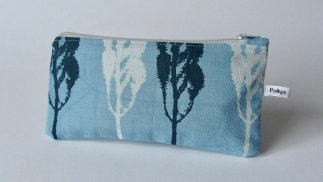 blue hand dyed pencil cases