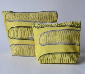 yellow handmade make-up bag