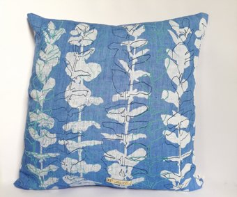 blue linen cushion