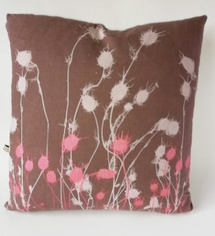 brown linen cushion