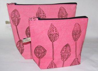 pink hand printed wash-bags