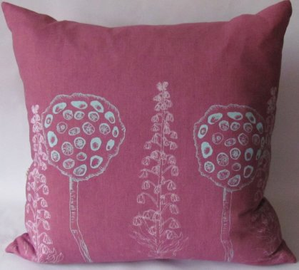 handmade purple linen cushions