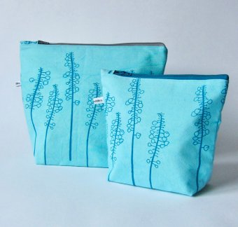 turquoise fabric make-up bags