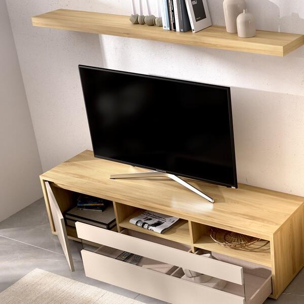 Detalle mueble TV Salón Onate de Muebles Polque