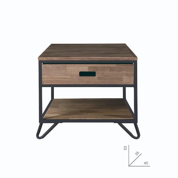 mesilla de noche de roble estilo industrial muebles polque