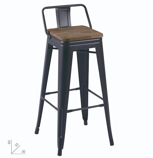 taburete alto forjado roble negro muebles polque