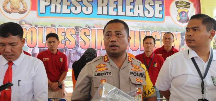 Kapolres Simalungun AKBP M.Liberty Panjaitan,S.I.K.,M.H.,Pimpin Press Release Kasus Pornografi