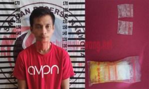 Pelaku pengedar Narkotika jenis sabu berinisial JA (30), warga Lingkungan Bugis, Kelurahan Menggala Kota yang berhasil ditangkap Polres Tulang Bawang