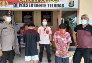 Dua pemuda pelaku pencurian barang milik bidan berinisial ID (22) dan IN (16), saat berada di Mapolsek Dente Teladas
