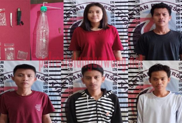 5 orang muda mudi beserta BB hasil penggerbekan kontrakan yang ada di Kampung Tunggal Warga
