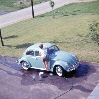 Susan washing her VW