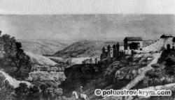 Вид Чуфут-Кале из Иосафатовой долины (из альбома П.И. Сумарокова)