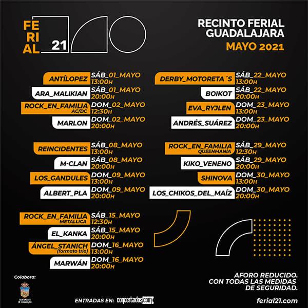Conciertos en el Recinto Ferial Guadalajara 2021