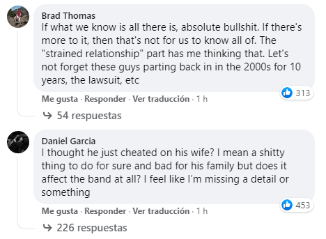 Comentarios sobre la salida de David Ellefson
