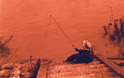 a woman fishing