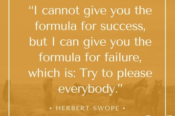 """I cannot give you the formula for success, but I can give you the formula for failure, which is: Try to please everybody."" - Herbert Swope 