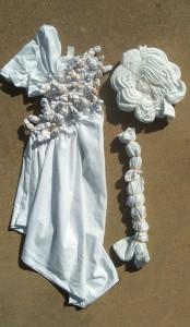 tied clothing for shibori dye, aka tie dye