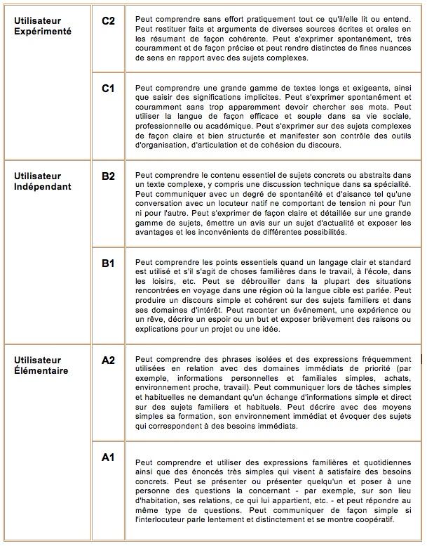 langue competence cv