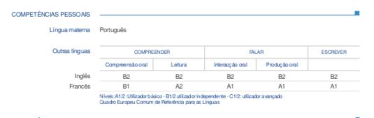 tableau de competence cv