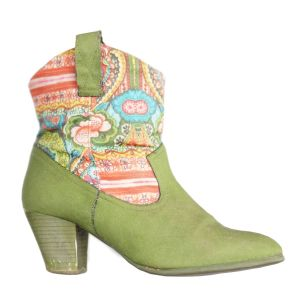Vintage Boot Green Flowers